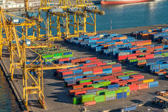 Industrial cargo port for freight transport overlook royalty free stock images
