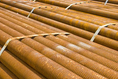 Industrial cargo for shipment: rusty pipes. Industrial cargo for shipment: bunch of rusty pipes Royalty Free Stock Photo
