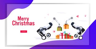 Free Industrial Carrier Robots Carrying Gift Present Boxes Merry Christmas Happy New Year Winter Holidays Concept Greeting Royalty Free Stock Images - 164317209