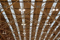 Industrial ceiling lights in the pavilion. View of industrial ceiling lights in the pavilion Royalty Free Stock Image