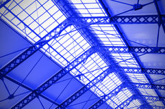 Industrial ceiling of a railway station Royalty Free Stock Photos