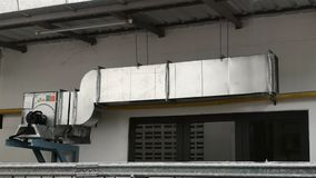Ventilation Air Duct  Exhaust Hood for Air Blower in Industrial factory. stock photo