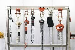Industrial chain hoist for reduce working load and lifting heavy. Object, mechanical hoist, gear hoist for one man operation with heavy weight mold and die stock photography