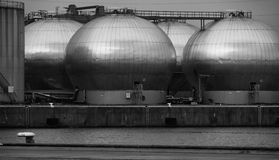 Industrial chemical storage tanks Royalty Free Stock Photos
