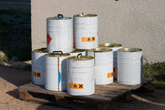 Industrial chemicals. Metal containers of industrial chemicals sitting outside a plant Royalty Free Stock Images
