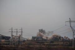 Industrial chimney demolition Stock Image
