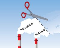 Industrial chimney smoke, cutting pollution concept. With a blue sky in the background Royalty Free Stock Photography