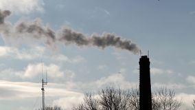 Industrial chimney with white smoke.  stock footage
