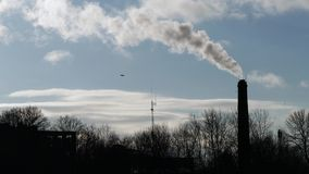 Industrial chimney with white smoke.  stock video