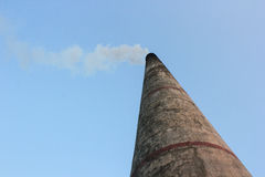 Industrial Chimney white smoke Stock Photo