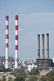 Industrial chimneys. In the Belgrade city Royalty Free Stock Photo