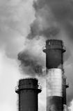 Industrial chimneys releasing smog Stock Photo