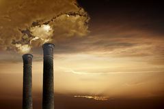 Industrial Chimneys with Smoke Royalty Free Stock Images