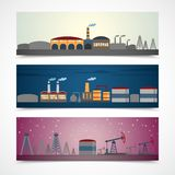 Industrial city banners set Stock Photos