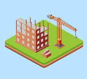 Industrial city building. With construction cranes and building houses a made in perspective isometric stock illustration