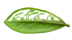 Industrial city, cut the leaves of plants, isolated over white Royalty Free Stock Photo