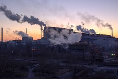 Industrial city plants pollute nature. Ukraine, the Dnieper Stock Images