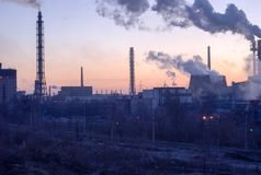 Industrial city plants pollute nature. Ukraine, the Dnieper Royalty Free Stock Images