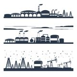 Industrial city skyline banners. Industrial building modern city skyline black silhouettes horizontal banners set isolated vector illustration Stock Image