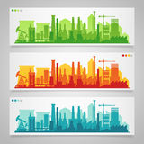 Industrial city skyline sets Royalty Free Stock Photos