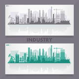 Industrial city skyline sets Stock Photos