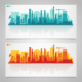 Industrial city skyline sets Stock Images