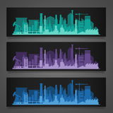 Industrial city skyline sets Royalty Free Stock Photo