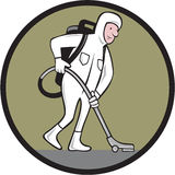 Industrial Cleaner Cleanroom Suit Vacuum. Cartoon style illustration of an industrial cleaner wearing cleanroom suit or bio-hazard suit with back-pack vacuum and Royalty Free Stock Photography