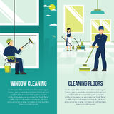 Industrial Cleaning 2 Flat Verticals Banners. Professional industrial floor and windows cleaning services 2 flat vertical advertisement banners set abstract Stock Image