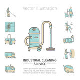 Industrial Cleaning Service. Worker. Vacuum Scrubber. Sweeper Machines. Flat icon set. Vector illustration Royalty Free Stock Photo