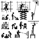 Industrial Cleaning Services Job Pictogram. A set of pictograms representing industrial cleaner working on risky jobs Stock Photography