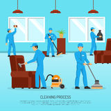 Industrial Cleaning Team Work Flat Poster Royalty Free Stock Photography