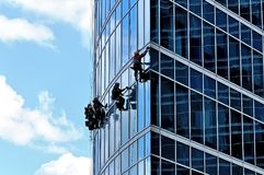Industrial climbers wash windows of skyscraper Royalty Free Stock Image