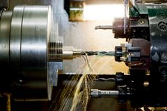 Industrial CNC drilling and boring machine at work. Close-up. Industry concept Royalty Free Stock Photo