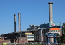 Industrial cogeneration plant in Utrecht of energy company Eneco in the Netherlands named Lage Weide. Industrial cogeneration plant in Utrecht of energy company stock photo