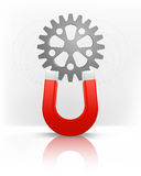 Industrial cogwheel attracted with magnet magnetic field vector Stock Images