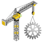 Industrial cogwheel hanged on isolated crane drawing  Royalty Free Stock Photography