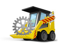 Industrial cogwheel on vehicle bucket transportation vector Royalty Free Stock Photos