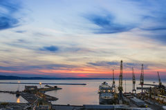Industrial commercial port at sunset, Ancona, Italy Royalty Free Stock Photography