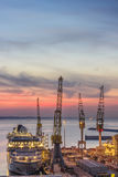 Industrial commercial port at sunset, Ancona, Italy Stock Photo