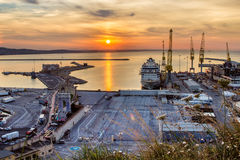 Industrial commercial port at sunset, Ancona, Italy Stock Photography
