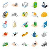 Industrial company icons set, isometric style. Industrial company icons set. Isometric set of 25 industrial company vector icons for web isolated on white Royalty Free Stock Photos
