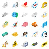 Industrial complex icons set, isometric style. Industrial complex icons set. Isometric set of 25 industrial complex vector icons for web isolated on white Royalty Free Stock Photography