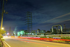 Industrial complex at night Stock Photo