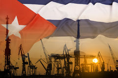 Industrial concept with Cuba flag at sunset royalty free stock photos