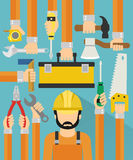 Industrial concept design flat with repaiman Royalty Free Stock Photos