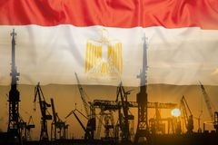 Industrial concept with Egypt flag at sunset royalty free stock image