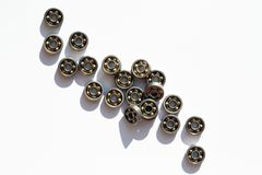 Ball Bearings Set. Industrial concept. Lot of ball bearings on white background stock photos