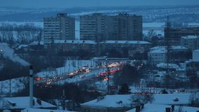Industrial concept. Residential buildings. Traffic with a lot of cars stock footage
