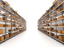 Industrial concept. Storage/Warehouse Shelves isolated on white Royalty Free Stock Images
